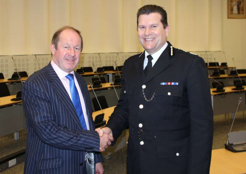 Tim Passmore with Chief Constable Gareth Wilson ANL-160601-172935001
