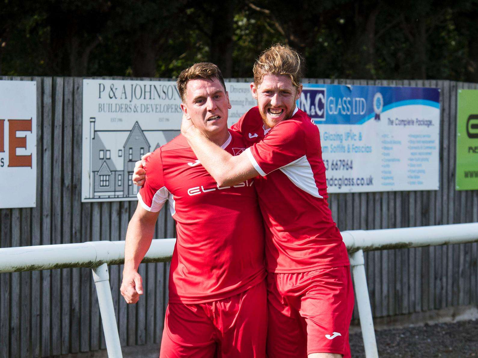 Ely City celebrate scoring against Stowmarket Town in their home victory Picture: Mark Westley