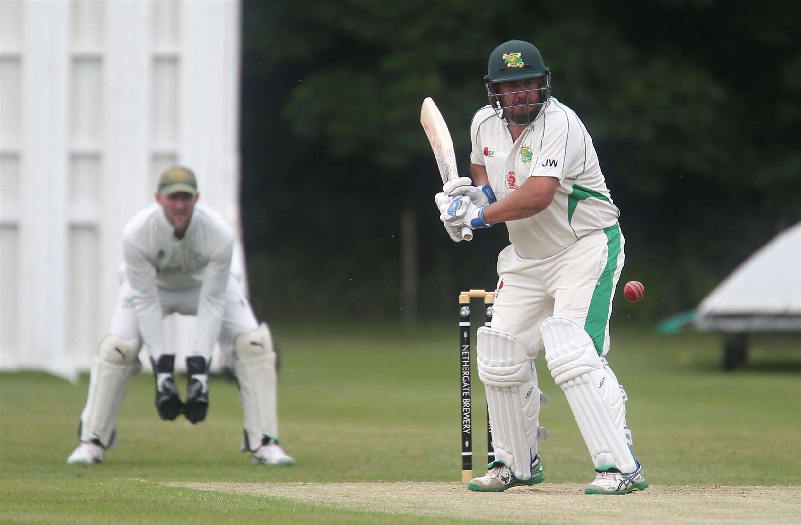 Long Melford v Walsham - Jason Wade bats for Long Melford.Pic - Richard Marsham. (2358465)