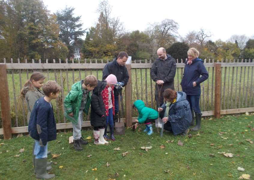 Staff and pupils at Cavendish Primary School planting trees.