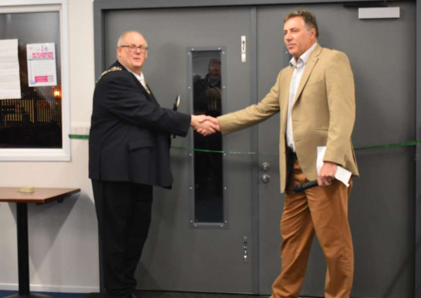 NEW FACILITY: The Mayor of Thetford, Cllr Denis Crawford, unveiled the club's new clubhouse alongside chairman Nigel Armes. Picture: Elena Armes