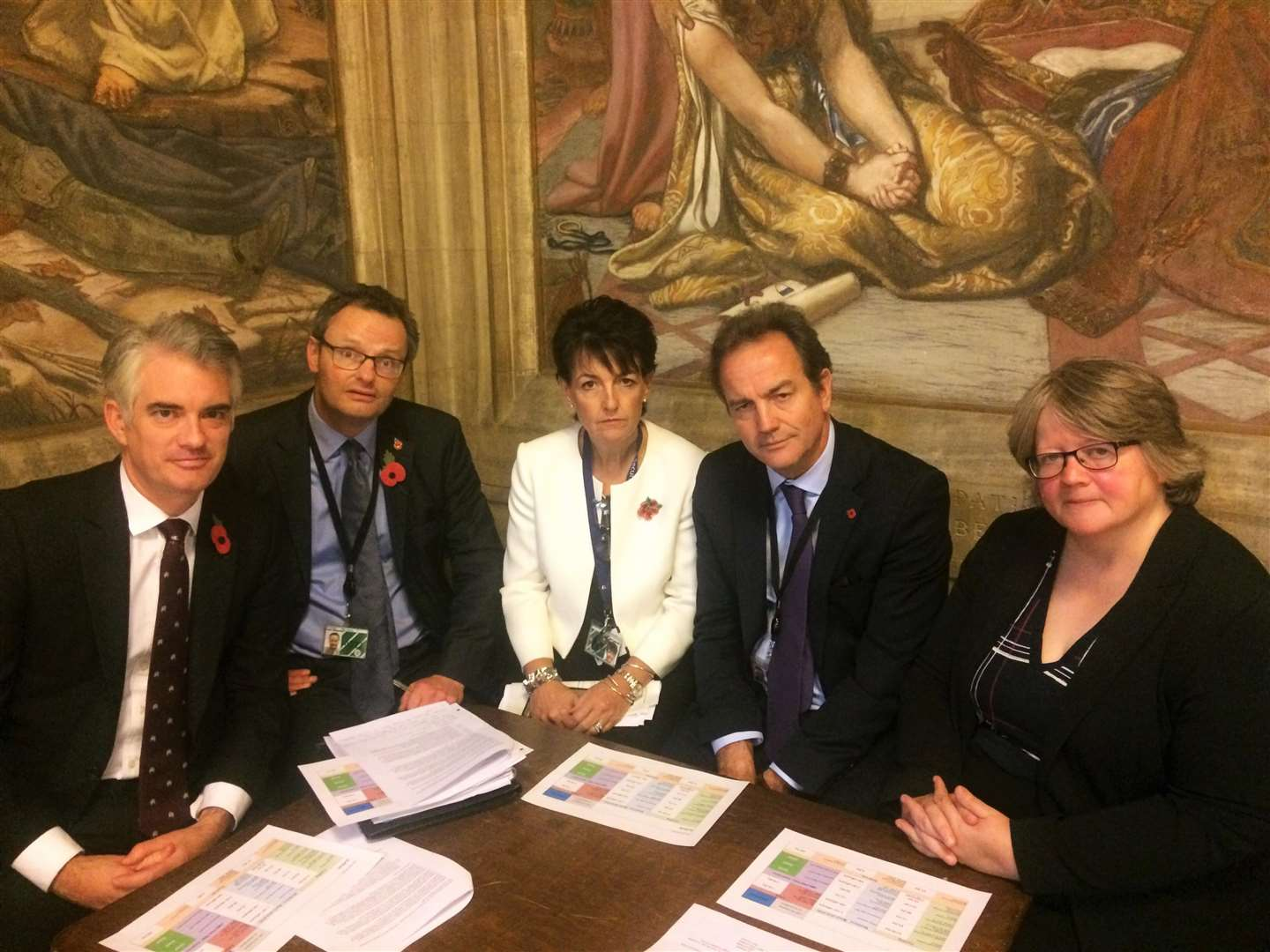 Suffolk Members of Parliament meet the Government's Police Minister Nick Hurd to discuss fairer funding for Suffolk Police. Pictured from left: James Cartlidge, Peter Aldous, Jo Churchill, Nick Hurd, and Dr Therese Coffey. (5440528)