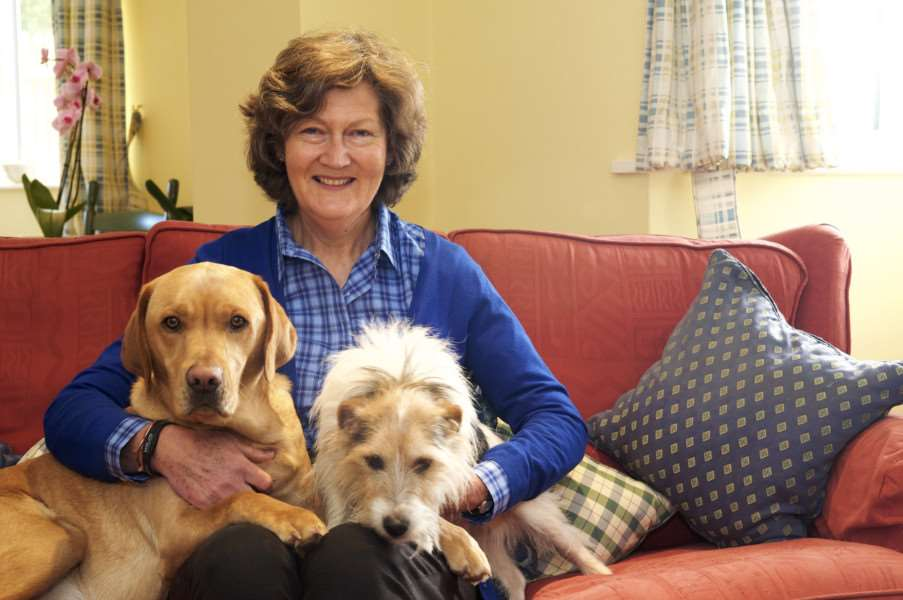 Belinda Johnston, founder of Our Special Friends, with her dogs Rolo and Otto