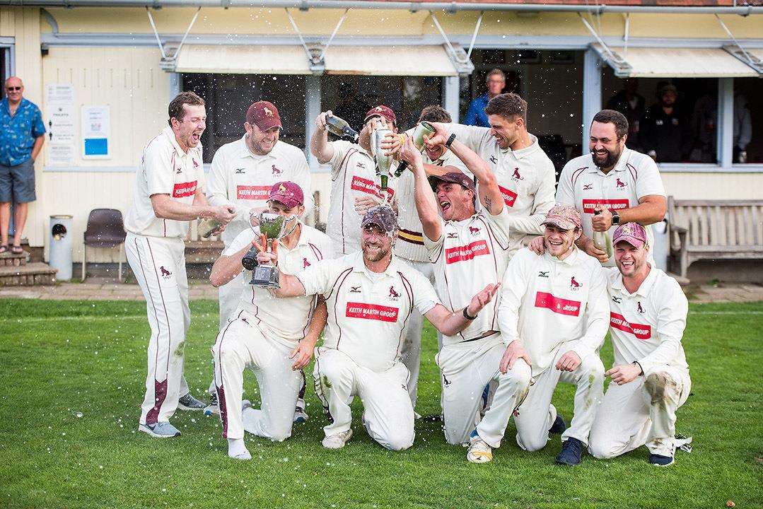 Champions Sudbury celebrate reatining the East Anglian Premier League title Picture by Mark Westley (4187765)