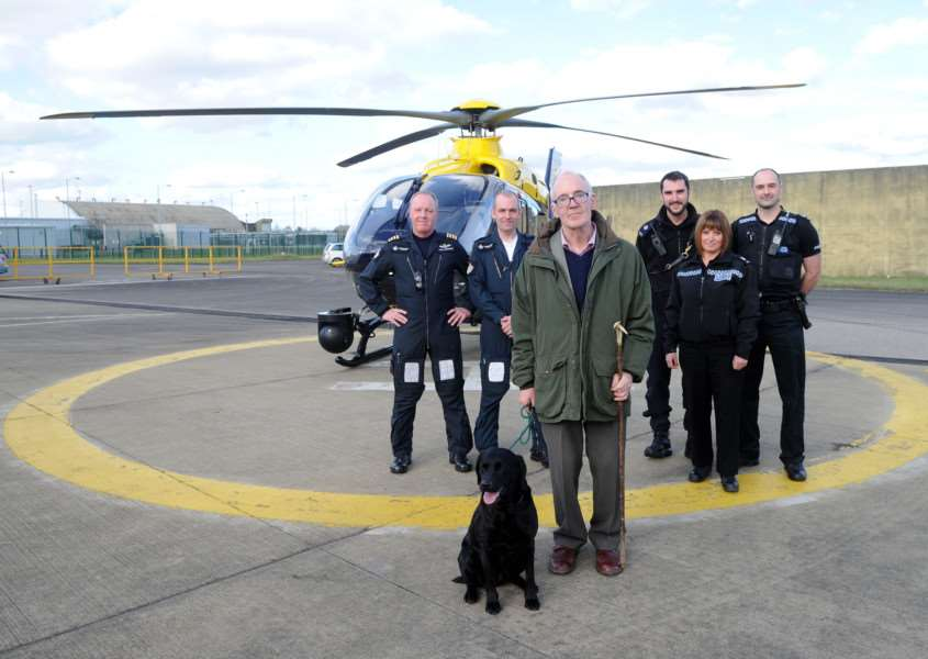 Media briefing with Martin Kay, who was meeting the helicopter and police crew who rescued him after he became stuck in a bog whilst walking his dog''Pictured: Captain Steve Ashcroft, PC (TFO) David Bazlinton, Martin Kay with Holly Blue, PC Neil Wisken, PC Clare Wayman and PC Luke Allard ANL-160403-171801009