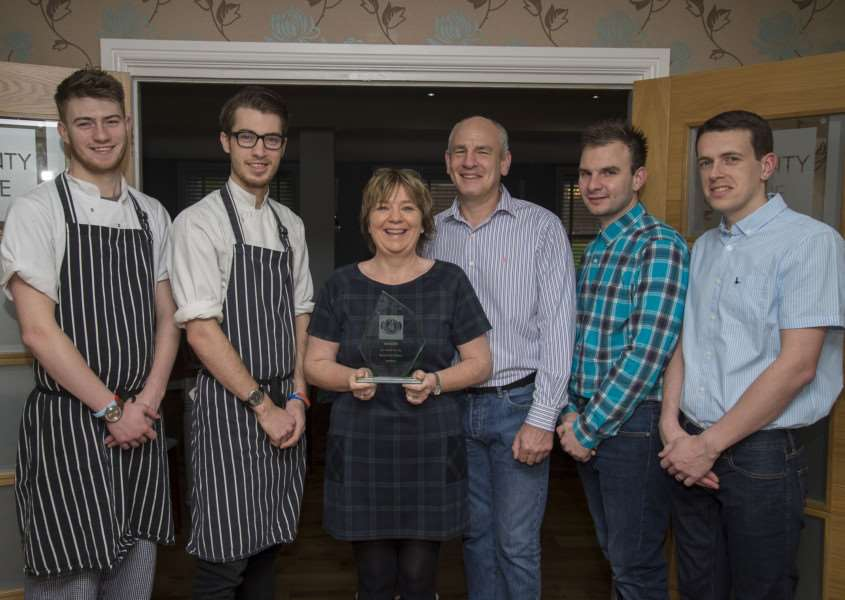 WINNING TEAM: Chef Lewis Ryan, apprentice Jordan Ryan, owners Karen and Paul Couzens and managers Jack Couzens and Damien Pearce