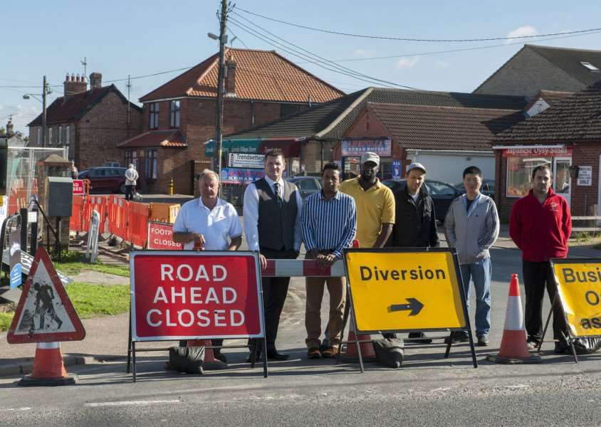 Beck Row business owners and parish councillors are angry at the way roadworks have been carried out. Picture Mark Westley ANL-150923-113213009