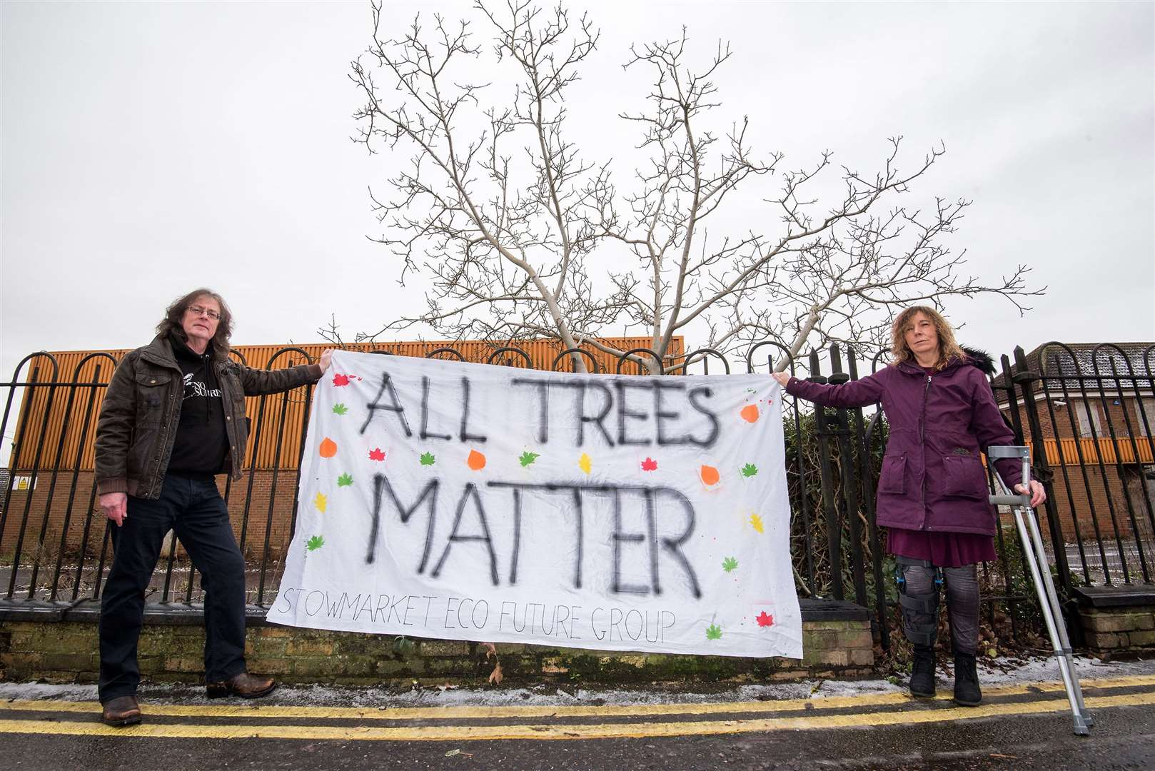 Simon Lee-Frampton and Sharri McGarry of Stowmarket Eco Future Group at the walnut trees. Picture by Mark Westley.