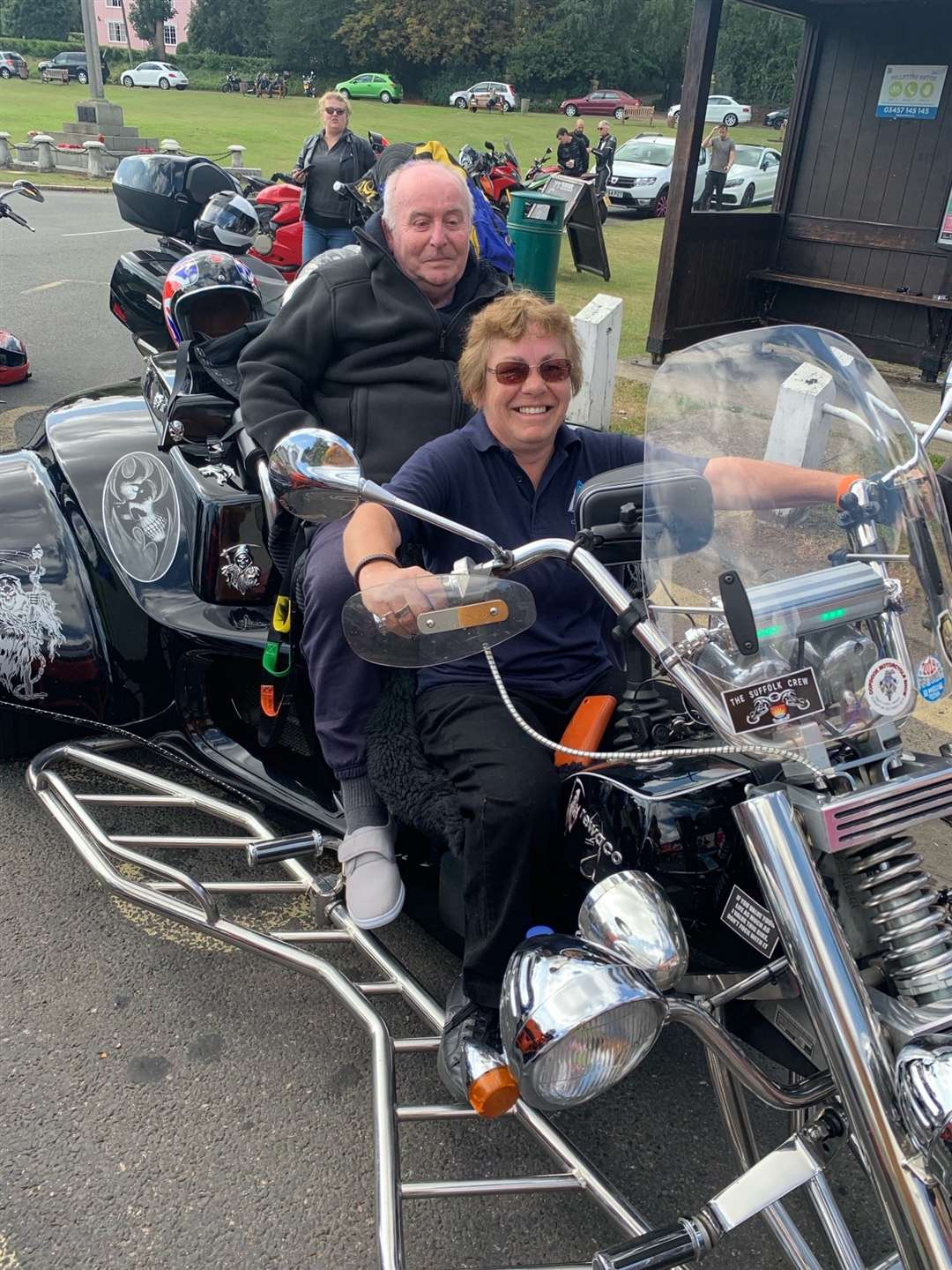 Michael Harvey enjoys his motorbike ride with Sally Thomason from Cephas Care. (18294950)