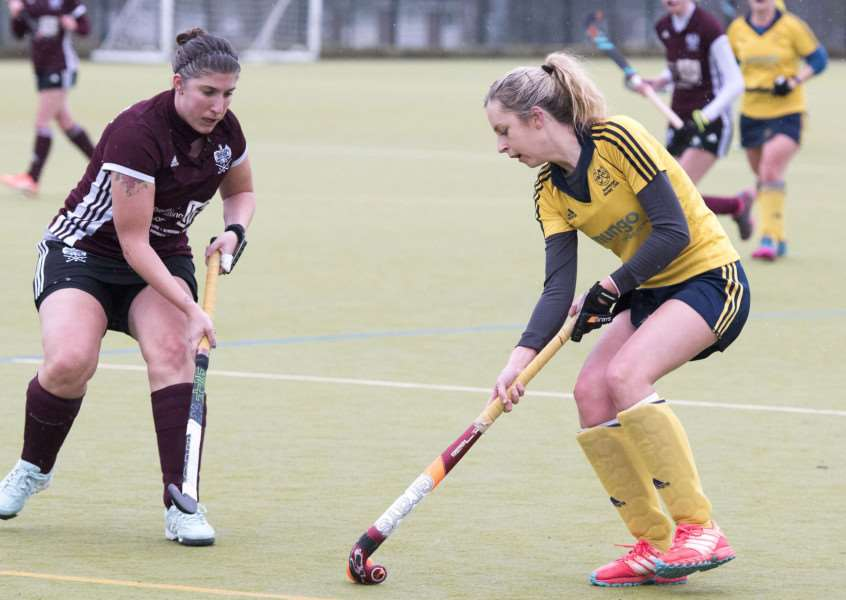 NARROW LOSS: Hayley Stoneman in action for Newmarket Ladies I, who lost 2-1 to Bedford II
