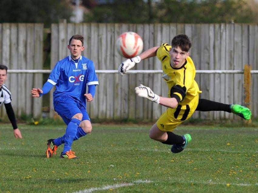 OFF TARGET: Matt Staines curls the ball wide during Haverhill Borough's 1-0 loss at Woodbridge Town. Picture: Mecha Morton