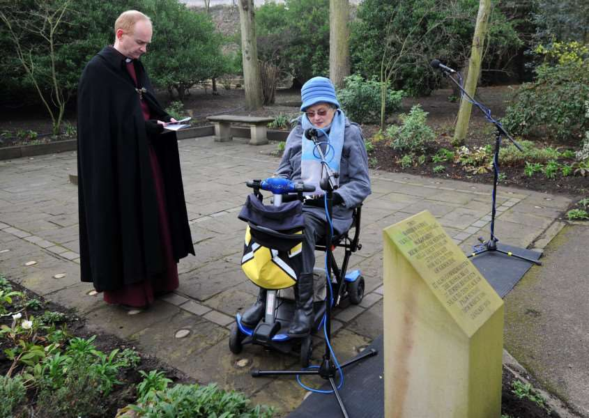 Holocaust Memorial service in the Abbey Gardens''Pictured: Joy Walker reads an entry from Anne Frank's Diary'''PICTURE: Mecha Morton