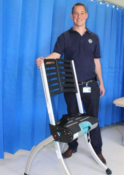 Neil Herbert, moving and handling lead at West Suffolk Hospital with a Raizer chair that helps patients off the floor if they fall, purchased with a legacy