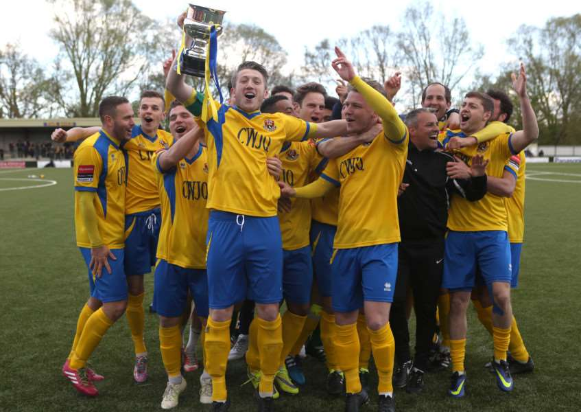 AFC Sudbury players celebrate winning the Ryman Division One North league.'Pic - Richard Marsham ANL-160423-205817009