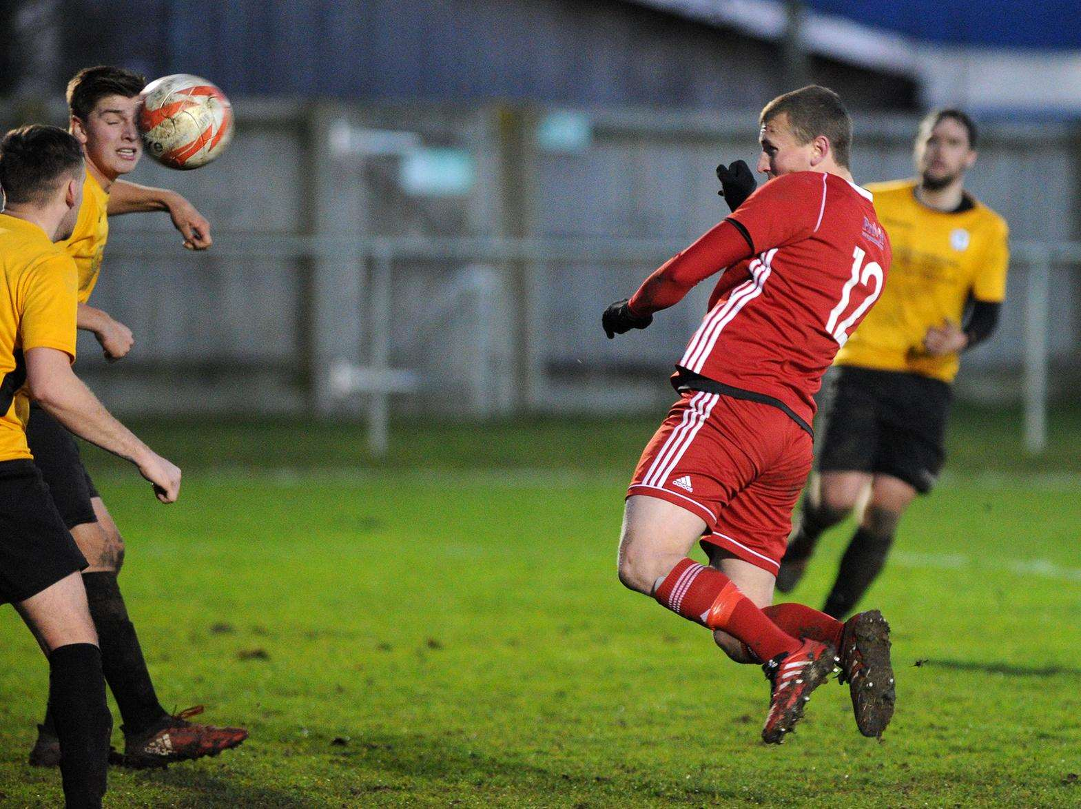 ON TARGET: Jordan Palmer scoring from a header for Haverhill Rovers in their 2-1 home defeat against Fakenham Town. Picture: Mecha Morton