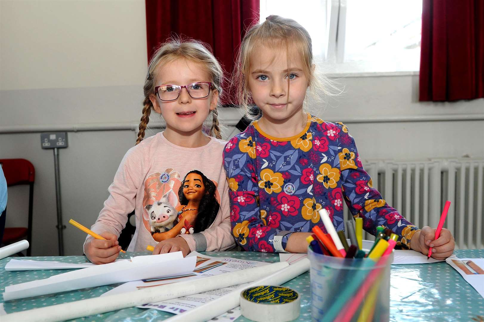 Sophie Codd, six, and Millie Landsdell, six, making rockets. PICTURE: Mecha Morton