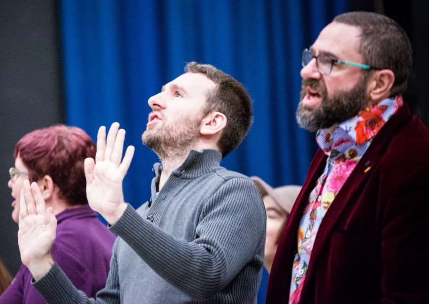 Steven Roach (centre), who plays the Dame, Mother Trott, and Graeme Johnson (right), who plays Baron Hardup, in rehearsal for the Centre Stage Company's new pantomime, Jack and the Beanstalk