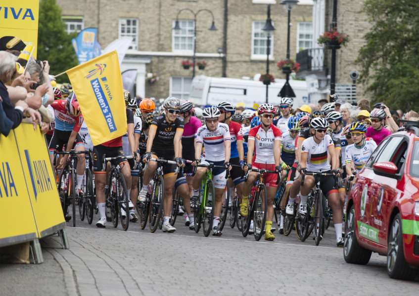 RACE READY: Riders get set to start the first stage of the Aviva Women's Tour in Bury St Edmunds