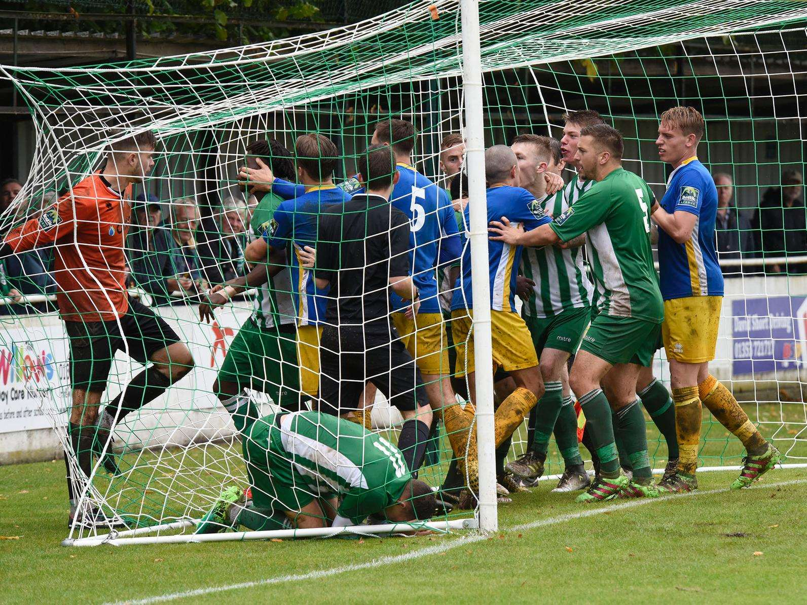 Things turn nasty at Soham Town Rangers where Canvey Island's goalkeeper was sent off, with The Greens scoring from the penalty spot Picture: Mark Westley