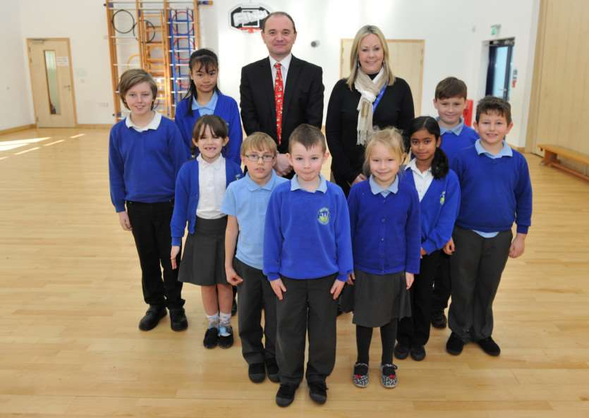 Westfield Primary Academy has a new head teacher, Nicky Tyler ''Pictured: Pupils with new Head Teacher Nicky Tyler and Executive Principal Darren Woodward ANL-150113-113658009