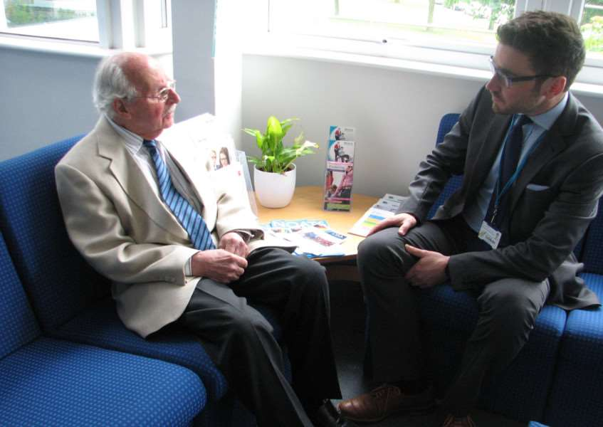 Joe Stirling, who moved to the country during the Nazi Germany regime, with David Grocott, head of humanities at Ormiston Sudbury Academy. ANL-150906-170724001