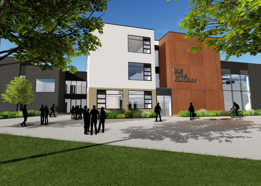 A 3-D image of the proposed front of the new STEM Academy on the Westley Middle School Campus