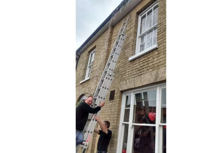 Christmas lights going up at The Old Cannon Brewery, in Bury St Edmunds, last year ANL-161115-111341001