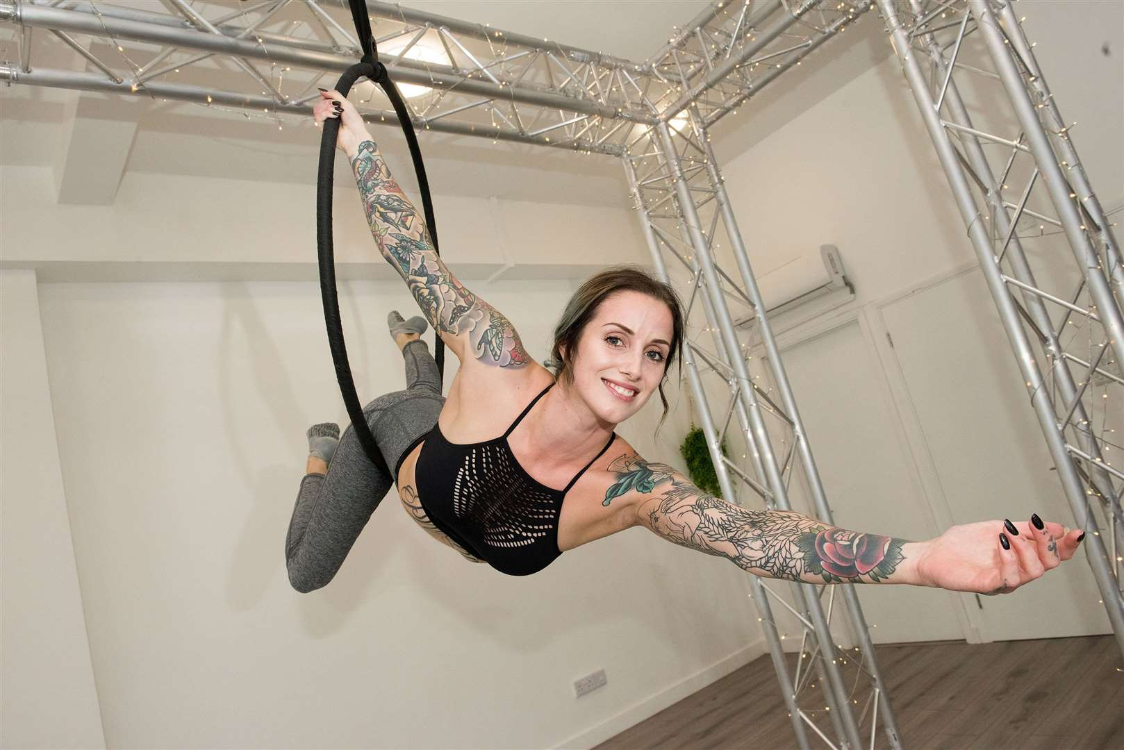 Emily Stockings shows how an aerial hoop is used. Picture by Mark Westley.