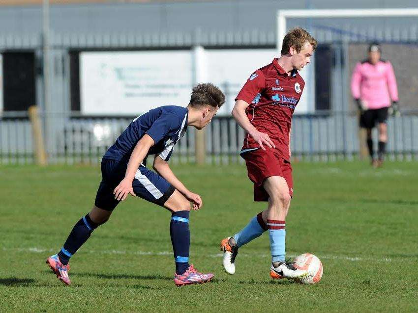 HAT-TRICK HERO: Cameron King netted three goals in Thetford's 5-2 win over Hadleigh