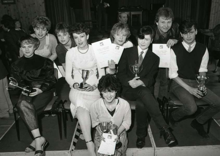 This photo shows the five young prize winners in a hairdressing competition from West Suffolk College In April 1982.