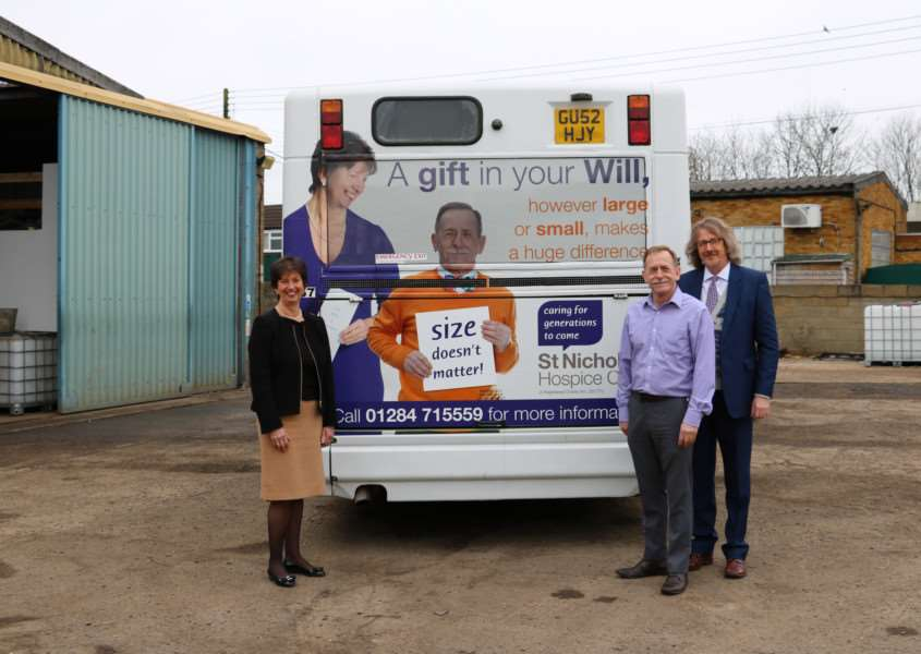 Barbara Gale, St Nicholas Hospice Care Chief Executive, Ray Mott, Hospice Facilities Manager, and Nick Duncan, Legacy Officer, with the light-hearted bus campaign to promote legacy giving ANL-160104-130035001