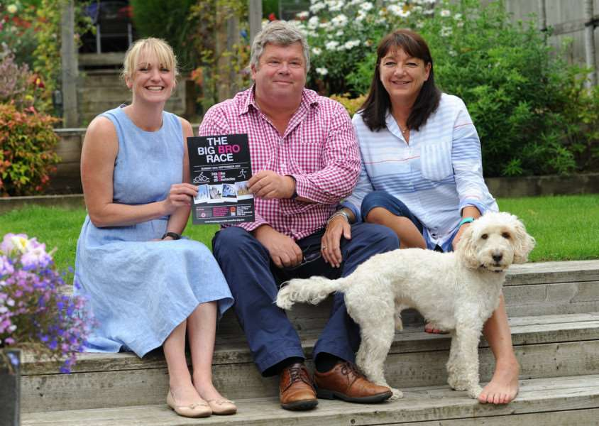 Sue and Nigel Birrell are sponsoring the Big Bro Race in aid of Suffolk Breast Cancer Now Pictured: Laura Hudson, Nigel and Sue Birrell PICTURE: Mecha Morton