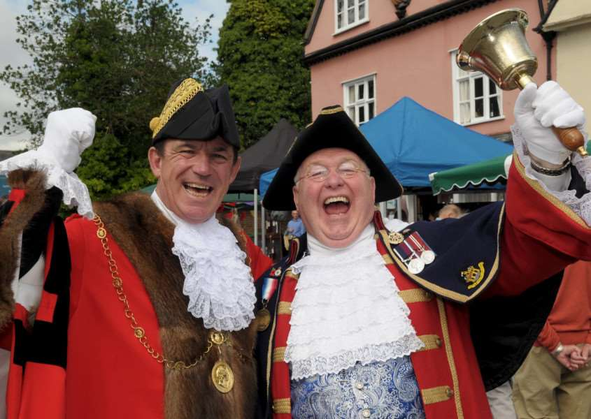Clare, Suffolk. Clare's monthly market returns after an absence of 20 years. Pictured are Terry Clements Mayor of St Edmundsbury and Mike Wabe Thetford Town Crier.''Picture: MARK BULLIMORE