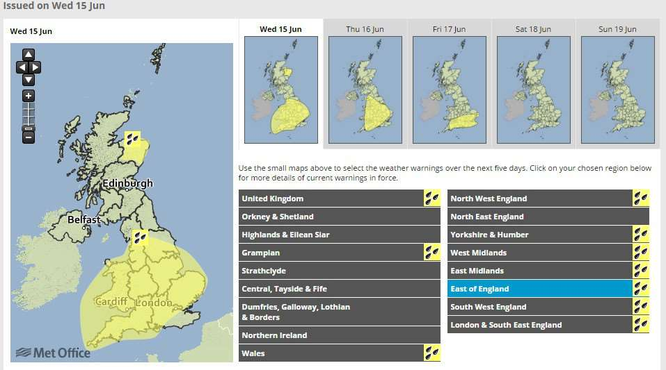 Met Office extend yellow weater warning for rain.