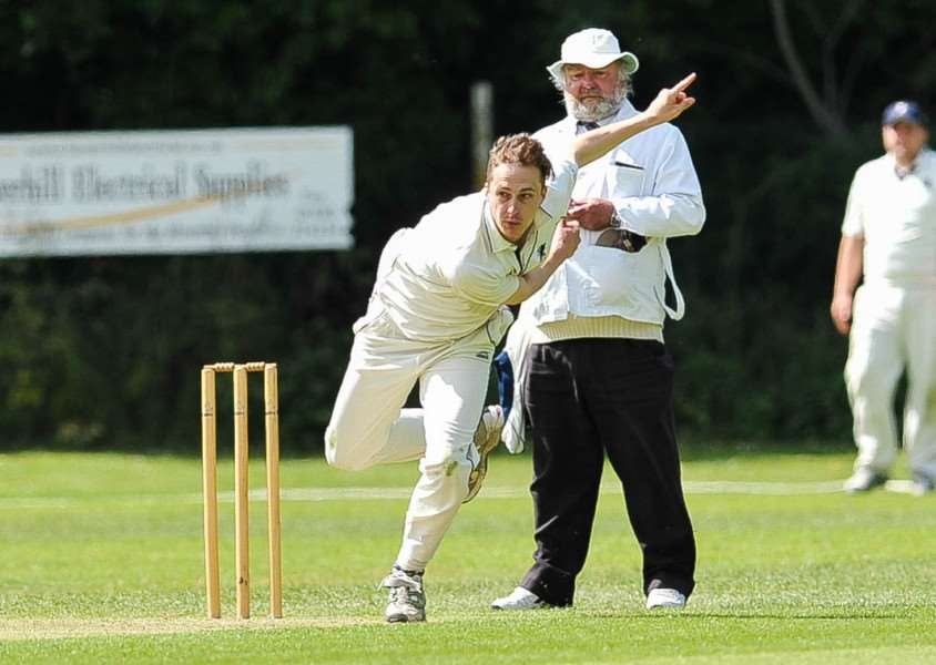Cricket action from Haverhill v Sudbury ll. FL; Ben Wilkins bowling for Haverhill. ANL-150806-202540009
