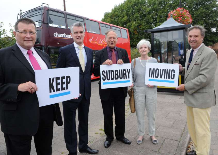 Conservative campaign for a Sudbury relief road. Pictured: Cllr Colin Spence, James Cartlidge, John Sayers, Jan and Adrian Osborn