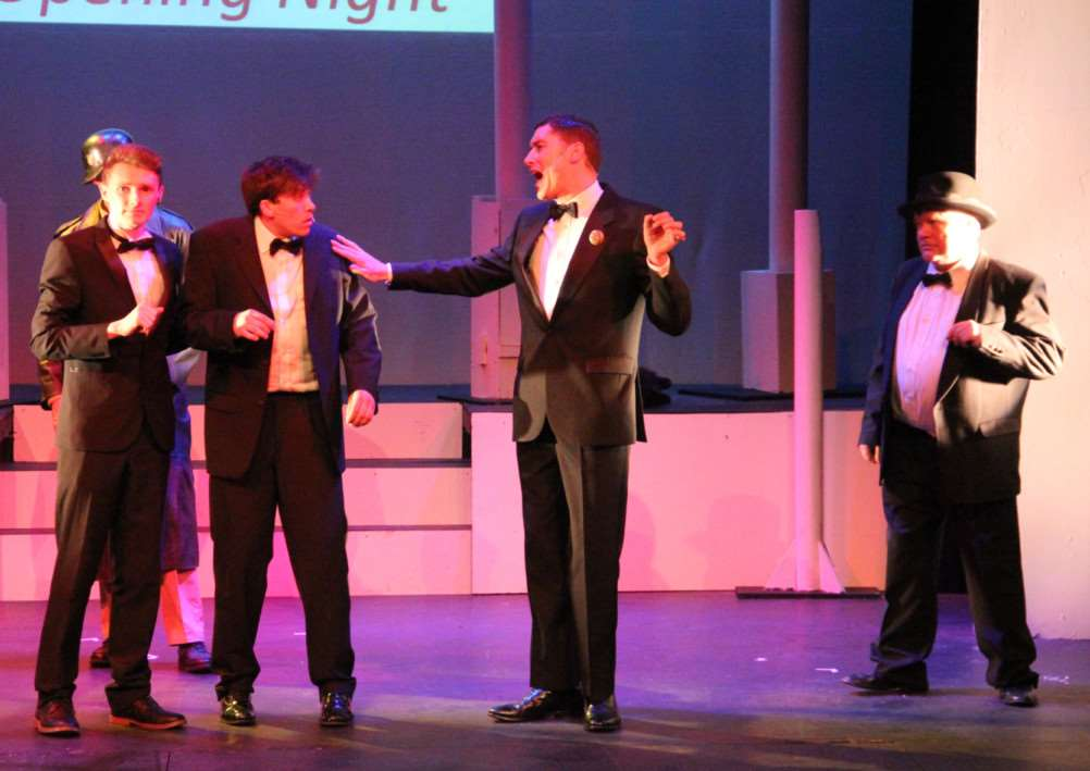 From left: Max Murphy (Carmen Ghia), Tom Ogden (Leo Bloom), Adam Mepham (Roger De Bris) and Andy Letcher (Max Bialystock) in The Centre Stage Company' production of The Producers