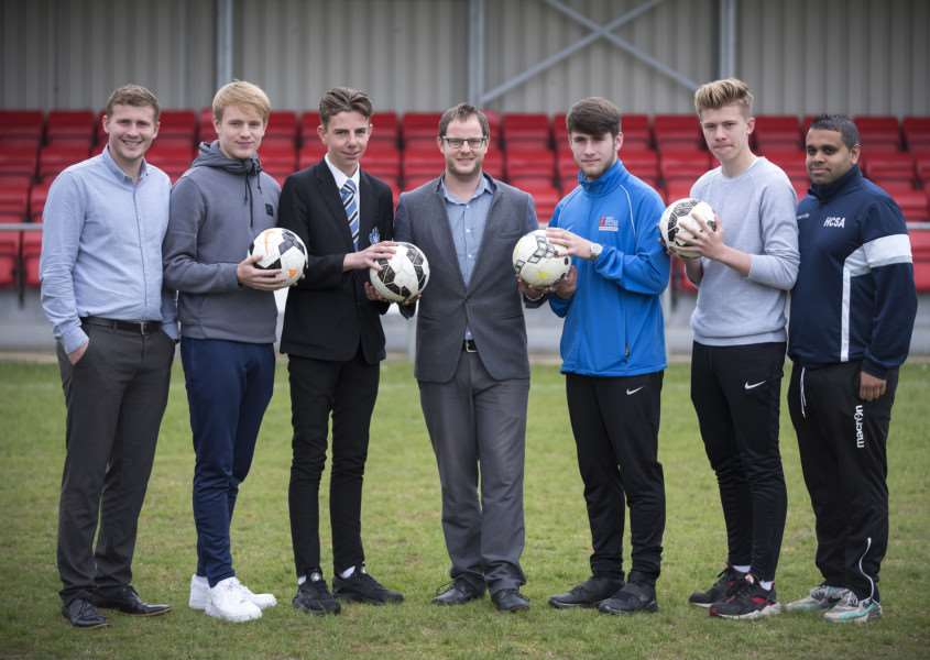 From left: Michael Cornall (Suffolk FA), Ethan Woodley, Jack Tokley, Ian Evans (Abbeycroft Leisure), Owen Thompson, Josh Santry and Peter Betts (Haverhill Community Sports Association). Rhys Shulver was absent from the photo. Picture Mark Westley ANL-160525-174646009