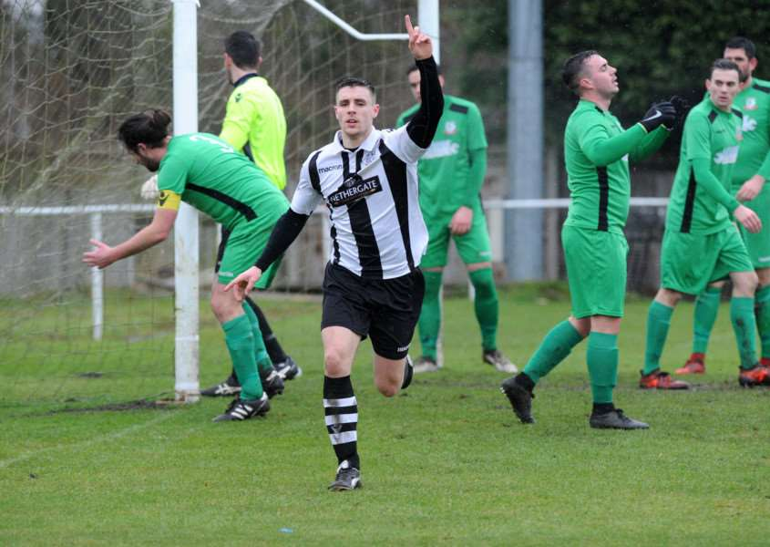 LONG AWAITED: Anthony Waugh celebrates his first goal for Long Melford ' after 156 appearances ' in the 2-2 home draw with Gorleston
