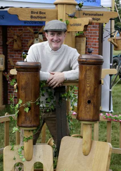 Wood Fair weekend at Ickworth House. Eric 'simmo' Simonds of Finingham with some of his bird boxes.''Picture: MARK BULLIMORE ANL-160810-223623009