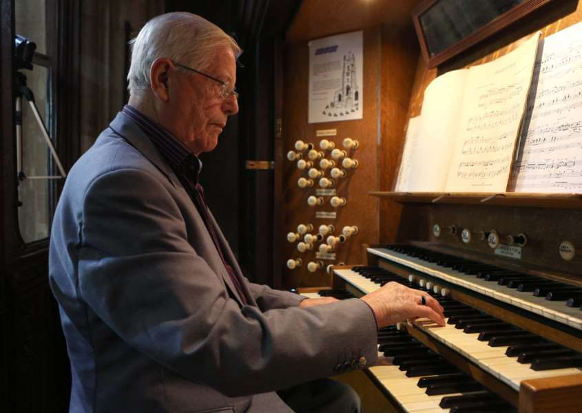 Pic - Richard Marsham'Heritage Open Day in Sudbury - Richard Webb plays the organ in St Peters Church ANL-151209-201616009