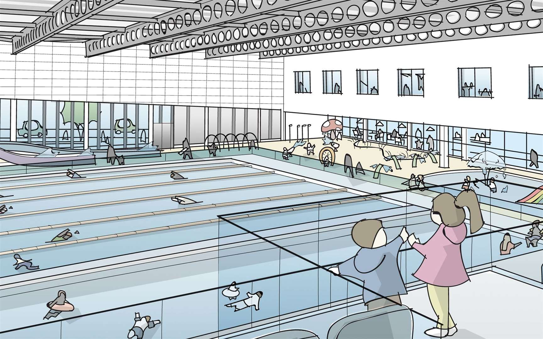 The pool hall in the proposed new Bury St Edmunds Leisure Centre. Picture: Pick Everard and West Suffolk Council