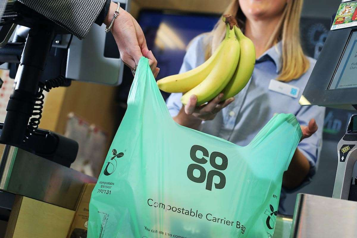 The new compostable carrier bag will now be offered to shoppers costing 10p