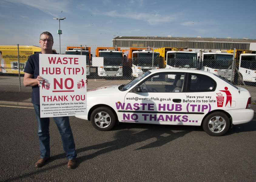 Mark Westley Photography'Trevor Clinch, of Barton Hill has bought a car and decorated it with signs to protest against plans for waste hub. ANL-150415-193117009