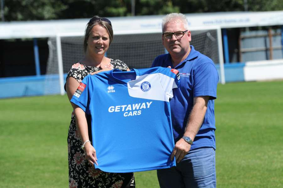 New club sponsors of Bury Town''Pictured: Bury Town Chief Executive Michelle Banfield-Curran and Glenn Edwards (Managing Director of First Travel) ANL-160719-235524009
