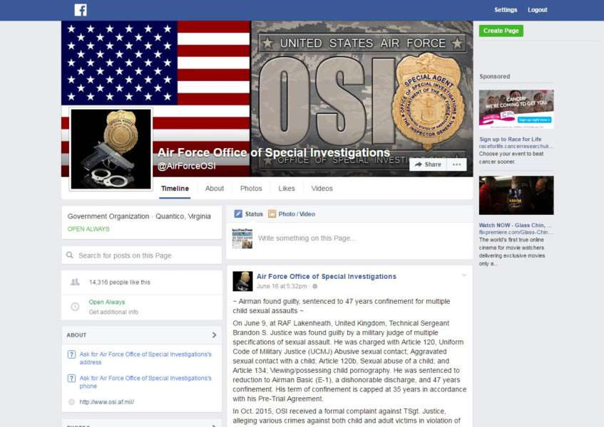 The USAF Office of Special Investigations' Facebook post about Brandon Justice's conviction ANL-160618-104345001
