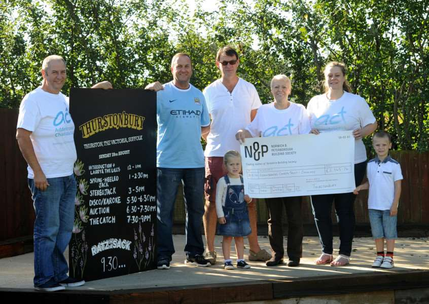 Cheque presentation in aid of ACT (Addenbrooke's charity trust) at The Victoria pub in Thurston
