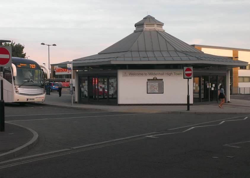 Mildenhall bus station where the guide dog was attacked