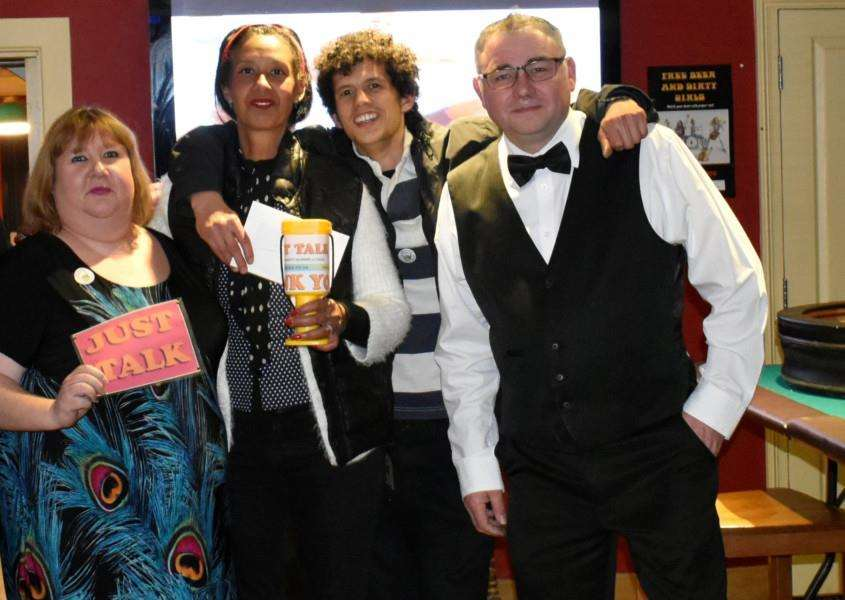 Members of the Just Talk Campaign with Prince of Wales pub landlord Duncan Tuhey at the recent charity casino night.
