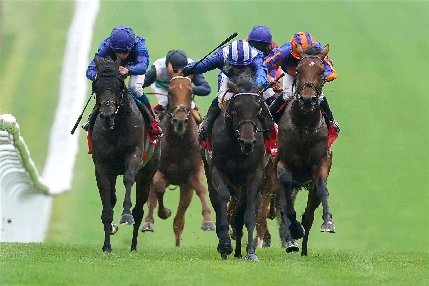 Jim Crowley riding the William Haggas-trained Al Aasy (blue/white cap) win The Bahrain Trophy Stakes at Newmarket Racecourse on July 09Picture: Alan Crowhurst/Getty Images